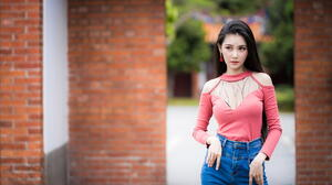 Asian Model Women Long Hair Dark Hair Jeans Red Shirt Bricks Wall Depth Of Field Trees Earring 2281x1520 Wallpaper