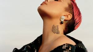 Demi Lovato Women Pink Hair Dyed Hair Celebrity Singer Bare Shoulders Inked Tattoo Closed Eyes Neck  5000x6250 Wallpaper