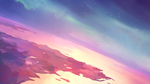 Skitten Artwork Sky Space Stars Digital Art Aurora Colorful 3000x3000 Wallpaper