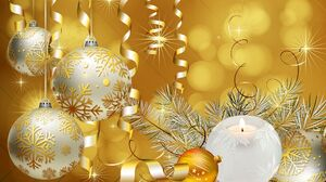 Bauble Christmas Christmas Ornaments Gold 1920x1080 Wallpaper