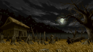 Creepy Night Graveyards Pixel Art Pixelated Moon Grave Trees Grain Cabin Pixels Dead Trees Branch 1920x1080 Wallpaper