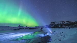Vibrant Glowing Landscape Snow Ice Nature Aurorae 4156x2832 Wallpaper