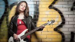 Brunette Girl Guitar Leather Jacket Model Woman 2048x1257 wallpaper