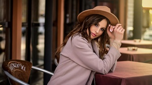 Women Model Hat Urban Brunette Sitting Face 3600x2419 Wallpaper