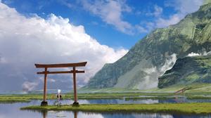 Swamp Water Cloud Sky Mountain Torii 3280x1632 Wallpaper