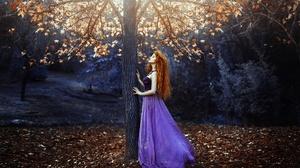 Girl Model Mood Purple Dress Redhead Tree Woman 2000x1333 Wallpaper
