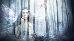 Artistic Fairy Forest Girl Wings Woman 3008x2000 Wallpaper