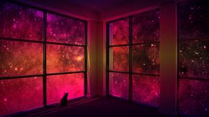 Dark Colorful Window Cats Collage Stars 2978x1968 Wallpaper
