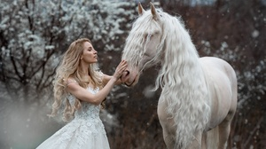 Women Horse Model Fantasy Girl Animals Mammals Blonde Dress Long Hair Women Outdoors Outdoors Market 2048x1365 wallpaper