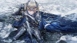 Anime Anime Girls Junpaku Karen Heterochromia Knight Blonde Armor Sword Cape 5206x2700 Wallpaper