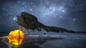 Vladimir Lyapin Landscape Night Sky Stars Rock Ice Cold Dark Tent Frozen Water 1600x1067 Wallpaper