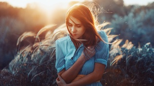Blue Dress Depth Of Field Girl Model Mood Redhead Sunrise Woman 2048x1366 Wallpaper