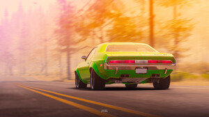 Dodge Dodge Challenger Green Car 1920x1080 Wallpaper