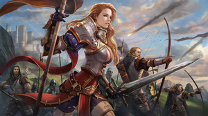 Kim Sung Hwan Drawing Battlefields Men Women Banner Archer Warrior Weapon Fighting Castle 3840x2160 Wallpaper