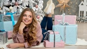 Blonde Blue Eyes Christmas Gift Girl Long Hair Model Smile Woman 3606x2400 Wallpaper