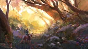 Fantasy Art Artwork Video Game Art The Legend Of Zelda The Legend Of Zelda Breath Of The Wild Link 1920x1096 Wallpaper