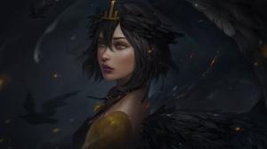 Angel Black Hair Girl Lipstick Short Hair Woman Yellow Eyes 5424x3216 Wallpaper