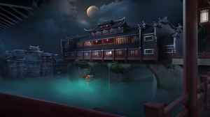 Ferry Water Moon Phases Asian Architecture Night 4128x1740 Wallpaper