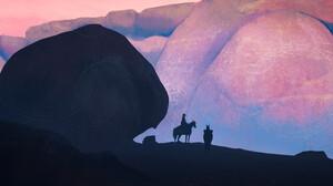 Artwork Digital Art Nature Horse Mountains Cowboy 1920x856 wallpaper