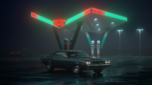 Dodge Challenger R T Car Neon Gas Stations Night 2500x1562 wallpaper
