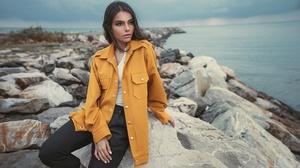 Brunette Coat Depth Of Field Girl Model Woman 2200x1320 Wallpaper