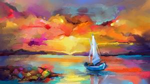Boat Dawn Paint Sail Sea 1920x1248 Wallpaper