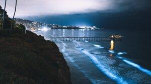 Nature Vertical Portrait Display Sea Waves Night City Lights Dock Palm Trees Beach 3276x4096 Wallpaper