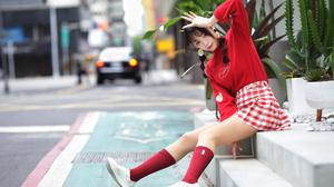 Asian Women Model Long Hair Dark Hair Twintails Braided Hair Red Socks Sneakers Skirt Sitting Stairs 3840x2560 Wallpaper