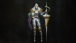 Armor Girl Knight Pink Hair Spear Woman Warrior 3500x1880 Wallpaper