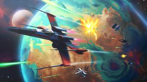 Space Planet Galaxy Star Wars Universe X Wing TiE Fighter Battle 3840x2096 Wallpaper