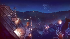 Raccoons Fireworks Rooftops Night Lantern Jeoffrey Magellan Tevy Dubray Anthro 1920x1080 Wallpaper