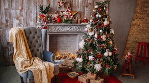Christmas Tree Fireplace Gift Christmas Ornaments 3960x2640 Wallpaper