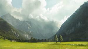 Mountains Landscape Fantasy Art Valley Ben J 1455x970 Wallpaper