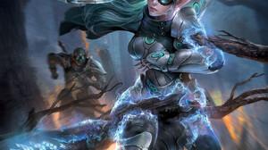 Jeremy Chong Drawing Women Weapon Scythe Magic Glasses Fantasy Art Blue Turquise 1623x2100 Wallpaper
