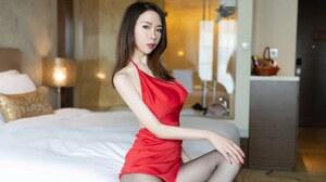 Asian Model Women Long Hair Brunette Sitting Red Dress Nylons Bed 5120x2880 Wallpaper