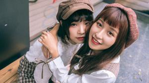 Asian Model Women Long Hair Brunette Berets Shirt Shorts Hugging Short Hair Sitting 2560x1706 Wallpaper