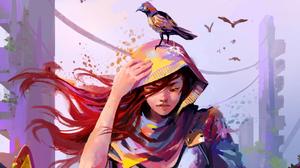 Woman Girl Hood Bird Long Hair Red Hair 2130x1198 Wallpaper