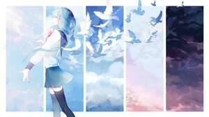 4K Anime Girls Dove JK Clouds Starry Night Sunny Setting Sun Night Sky 3840x2160 Wallpaper