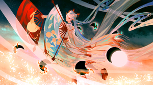 Anime Anime Girls Moon Stars Space Ribbons Long Hair Kimono Blonde Red Eyes Hand Fan Clouds Onmyoji 4134x2480 Wallpaper