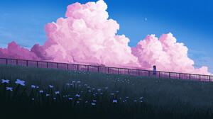 Gavryl Digital Art Clouds Pink Flowers Alone Moon 1920x1124 Wallpaper