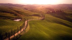 Italy Landscape Hill Dirt Road 2047x1080 wallpaper