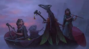 Artwork Fantasy Art Women Boat Vehicle Music Musical Instrument 3840x1667 Wallpaper