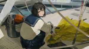 Anime Anime Girls Black Hair Green Eyes Boat Vehicle Looking At Viewer Artwork XilmO 2892x1782 Wallpaper