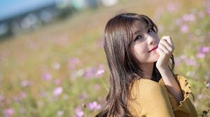 Asian Brunette Depth Of Field Girl Long Hair Model Woman 2048x1366 wallpaper
