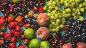 Cherry Fruit Grapes Peach Still Life Strawberry 4500x3136 Wallpaper