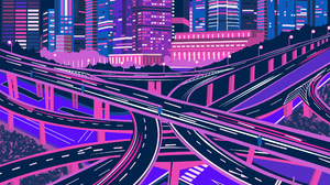 Illustration Colorful Purple Pink Artist Neon Glowing Cityscape Architecture Building Dark City Silh 2448x3168 Wallpaper