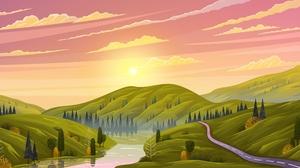 Landscape Hills Sunset Green Trees Vector River Plains Nature Sky Clouds Road Sun Forest 5741x2625 Wallpaper