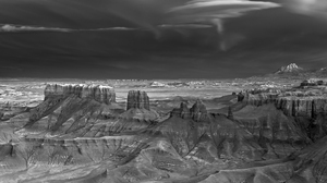Photography Monochrome Mountains Long Exposure USA Mitch Dobrowner Rock Rock Formation Landscape Nat 2000x1373 Wallpaper
