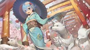 Anime Anime Girls Kimono Japanese Kimono Umbrella Wolf Blue Hair Short Hair Blue Eyes Petals Sakura  6400x4000 Wallpaper