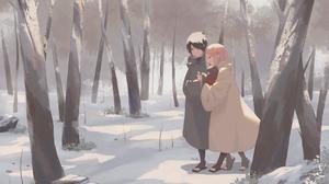 Sakura Haruno Pink Hair Sasuke Uchiha Black Hair Coat Sarada Uchiha Winter Forest 2105x1488 Wallpaper